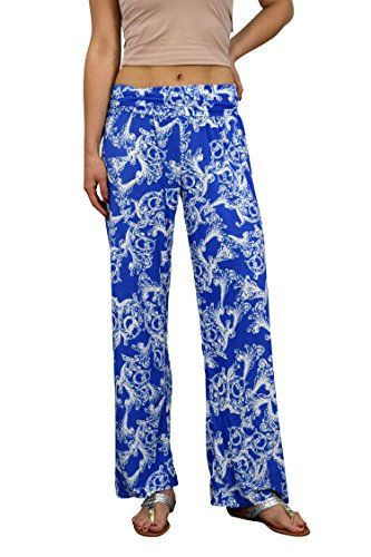 Blue Womens colorful Pattern Elastic Waist Printed Palazzo Pants Floral Small