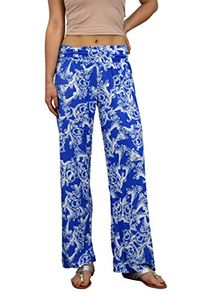 Peach Couture Womens colorful Pattern Elastic Waist Printed Palazzo Pants Floral Blue Small
