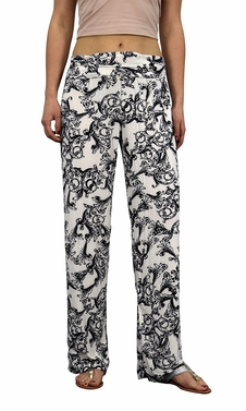 White Floral Colorful Pattern Elastic Waist Printed Palazzo Pants
