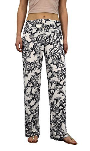 Floral White Womens colorful Pattern Elastic Waist Printed Palazzo Pants