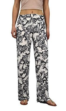 Peach Couture Womens colorful Pattern Elastic Waist Printed Palazzo Pants Floral White