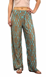 Teal Colorful Pattern Elastic Waist Printed Palazzo Pants Geometric