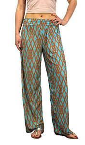 Teal Womens colorful Pattern Elastic Waist Printed Palazzo Pants Geometric