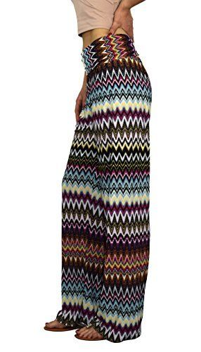 Fuchsia Womens colorful Pattern Elastic Waist Printed Palazzo Pants Tribal Chevron Medium