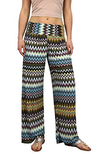 Peach Couture Womens colorful Pattern Elastic Waist Printed Palazzo Pants Tribal Chevron Orange