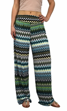 Teal Colorful Pattern Elastic Waist Printed Palazzo Pants Tribal Chevron