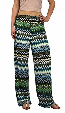 Teal Womens colorful Pattern Elastic Waist Printed Palazzo Pants Tribal Chevron Small