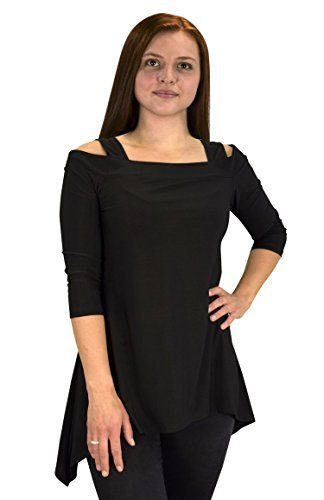 Black Womens Cut Out Shoulder 3/4 Sleeve Loose Silhouette Top Blouse