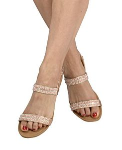 Champagne Womens Dainty Pearl Studded Gladiator Sandals US