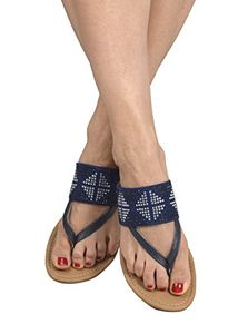 Navy Womens Double Strap Pearl Studded Wide Band Slides Sandals 6 B(M) US