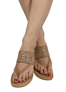 Tan Womens Double Strap Pearl Studded Wide Band Slides Sandals US