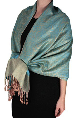 Peach Couture Womens Elegant Vintage Two Color Jacquard Paisley Shawl Wrap