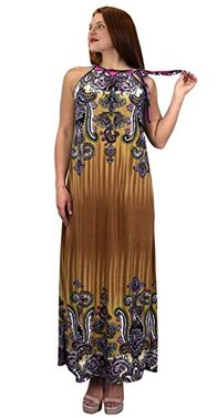 Beige Womens Exotic Paisley Print Summer Halter Dress