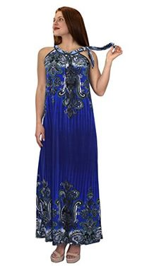 Blue Womens Exotic Paisley Print Summer Halter Dress
