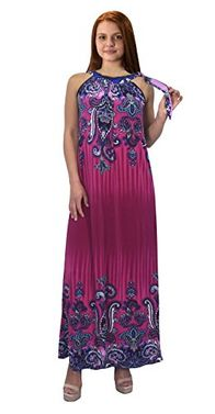 Magenta Womens Exotic Paisley Print Summer Halter Dress