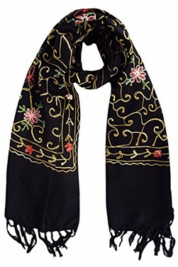 Black Exquisite Embroidered Flower Wool Pashmina Scarf Wrap Shawl