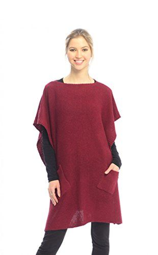 Multi Color Fall Winter Button Sweater Front Pockets Cape Wrap Poncho