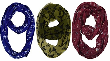 Womens Fashion Bohemian Infinity Scarves 3 Pack Bird Print