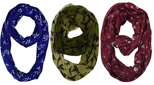 Peach Couture Womens Fashion Bohemian Infinity Scarves 3 Pack Bird Print