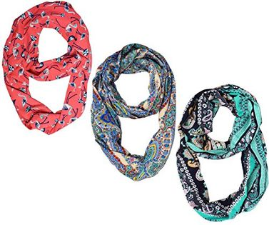 3 Pcs Pack Womens Fashion Bohemian Infinity Scarves