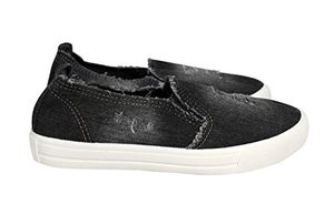 Peach Couture Womens Fashion Distressed Denim Casual Shoes Slip On Sneakers Black