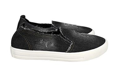 Black Fashion Distressed Denim Casual Shoes Slip On Sneakers
