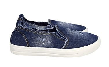 Peach Couture Womens Fashion Distressed Denim Casual Shoes Slip On Sneakers Dark Blue