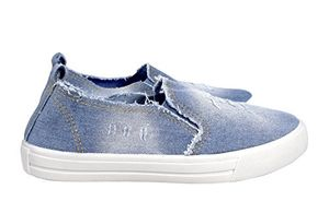 Peach Couture Womens Fashion Distressed Denim Casual Shoes Slip On Sneakers (L Blue 7)