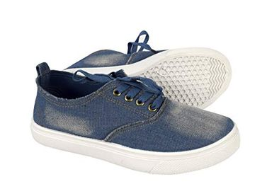 Blue Womens Distressed Denim Casual Shoes Slip on Sneakers Lace ,9