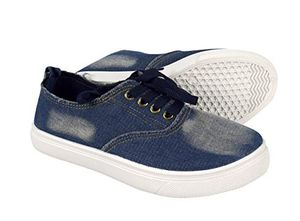 Dark Blue Womens Distressed Denim Casual Shoes Slip on Sneakers Lace