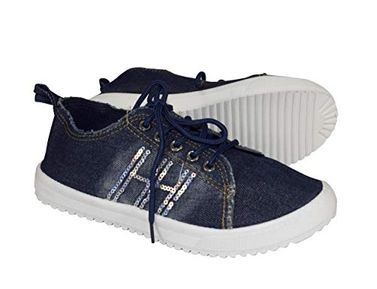 Navy Womens Distressed Denim Casual Shoes Slip on Sneakers Sequins
