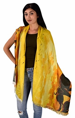 Womens Digital Print Long Scarf Wrap Shawl Sunset Elephants