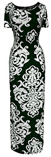 Peach Couture Womens Fashion Short Sleeved Smocked Damask Summer Maxi Long Dress Green