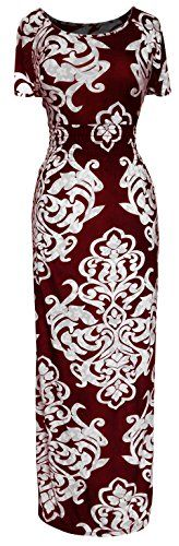 Peach Couture Womens Fashion Short Sleeved Smocked Damask Summer Maxi Long Dress Red Medium