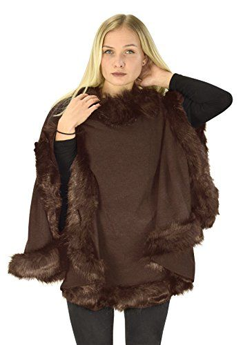Peach Couture Womens Faux Fur Relaxed Fit Poncho Cape Pullover Sweater