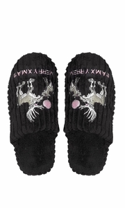 Peach Couture Womens Fleece Lined Relaxing Nordic Style House Slippers Black Deer