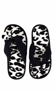Black Fleece Lined Relaxing Nordic Style House Slippers Black Leopard