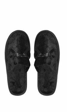 Black Fleece Lined Relaxing Nordic Style House Slippers Black Solid