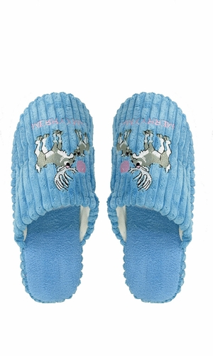 Blue Fleece Lined Relaxing Nordic Style House Slippers