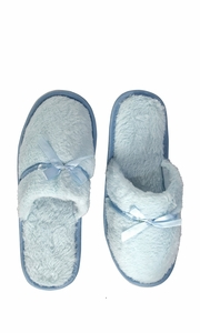 Blue Fleece Lined Relaxing Nordic Style House Slippers Blue Solid