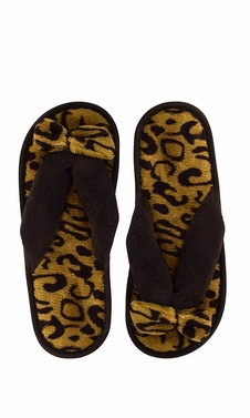 Brown Fleece Lined Relaxing Nordic Style House Slippers Brown Leopard