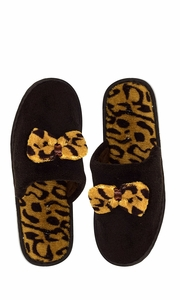 Brown Fleece Lined Relaxing Nordic Style House Slippers Brown Leopard 2