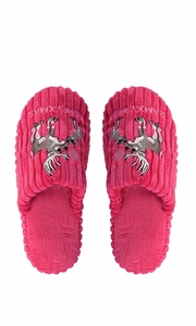 Peach Couture Womens Fleece Lined Relaxing Nordic Style House Slippers Fuchsia Deer