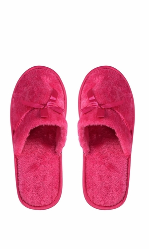 Fuchsia Fleece Lined Relaxing Nordic Style House Slippers Fuchsia Solid
