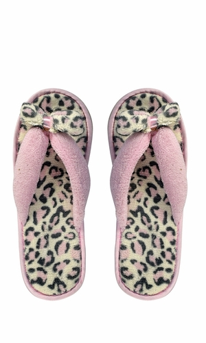 Pink Fleece Lined Relaxing Nordic Style House Slippers Pink Leopard