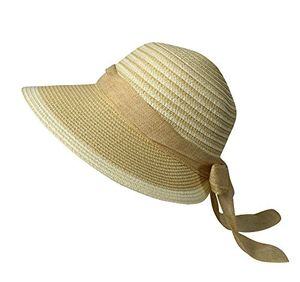 Womens Floppy Bow Knot Asymmetric Wide Brim Straw Sun Hat