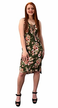 Olive Womens Floral Print Sleeveless Pleat Fabric Bodycon Dress