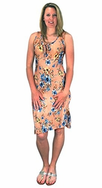 Peach Floral Print Sleeveless Pleat Fabric Bodycon Dress