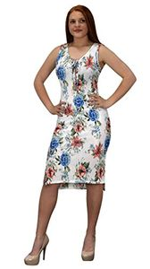 White Womens Floral Print Sleeveless Pleat Fabric Bodycon Dress
