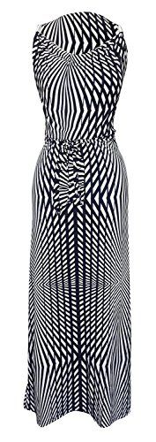 Navy White Geometric Striped Metallic Shoulder Belted Maxi Dress
